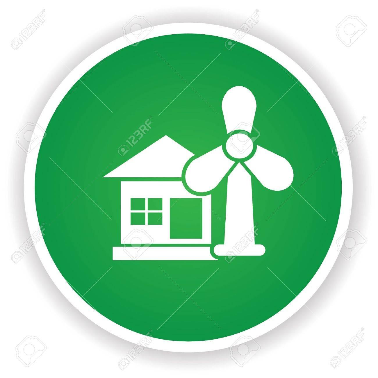 Wind turbine symbol on green button Stock Vector - 20437898