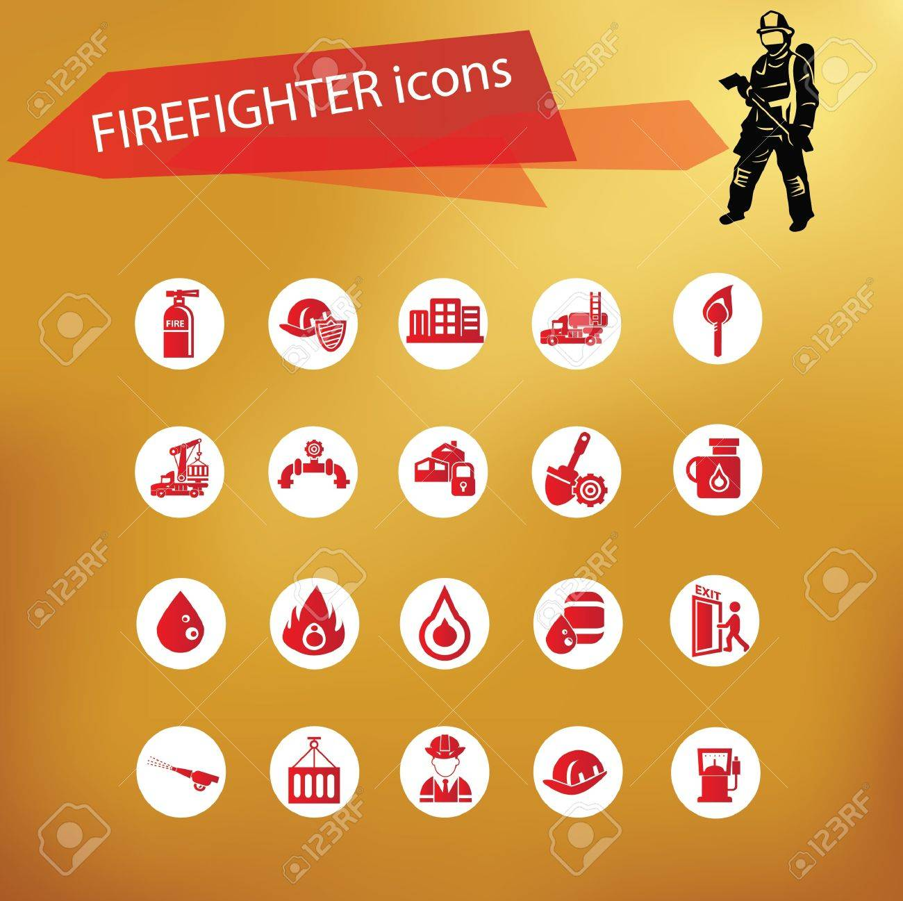 Fire icon set,vector Stock Vector - 21635455