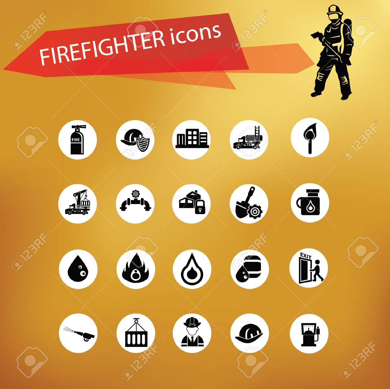 Fireman icon set,vector Stock Vector - 21283122