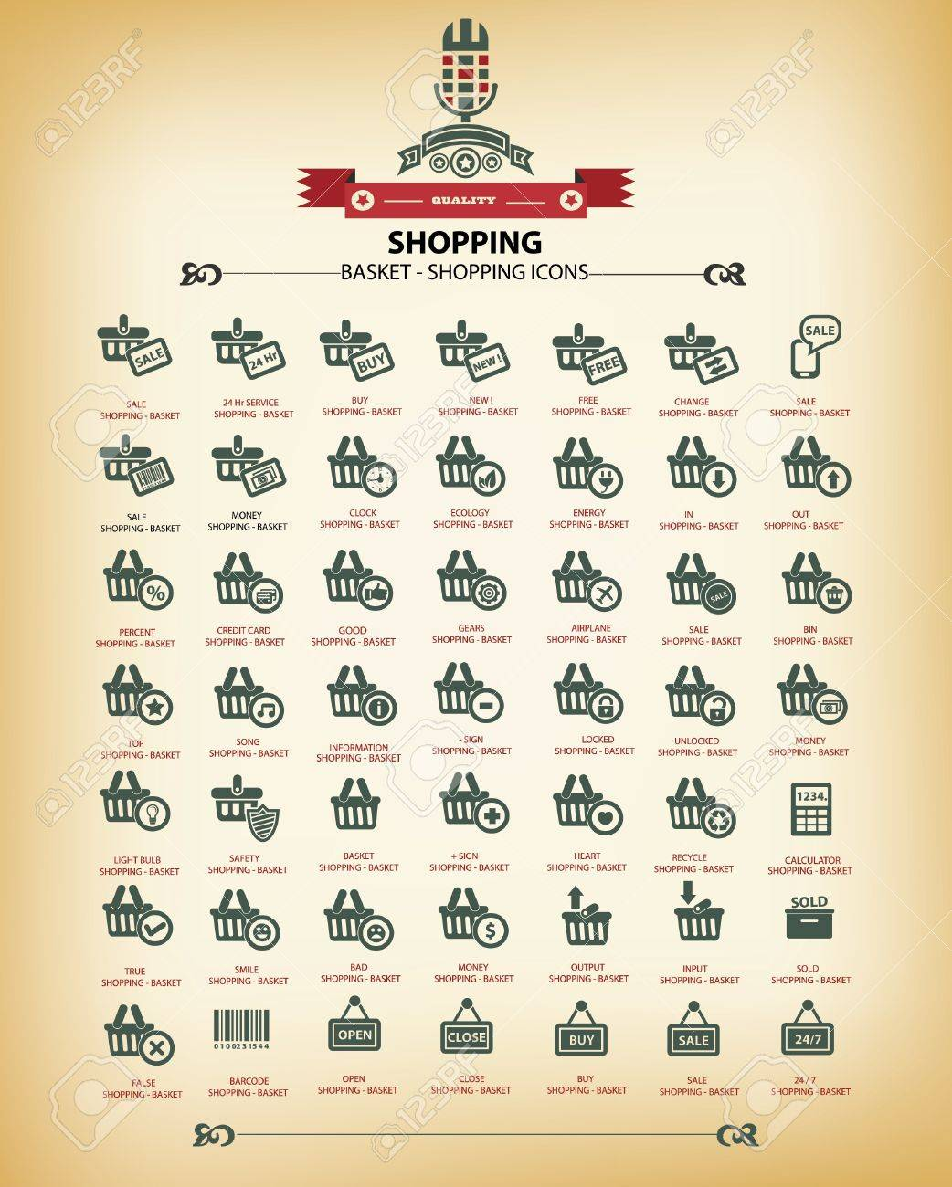 Shopping icons,Vintage version,vector Stock Vector - 21283157
