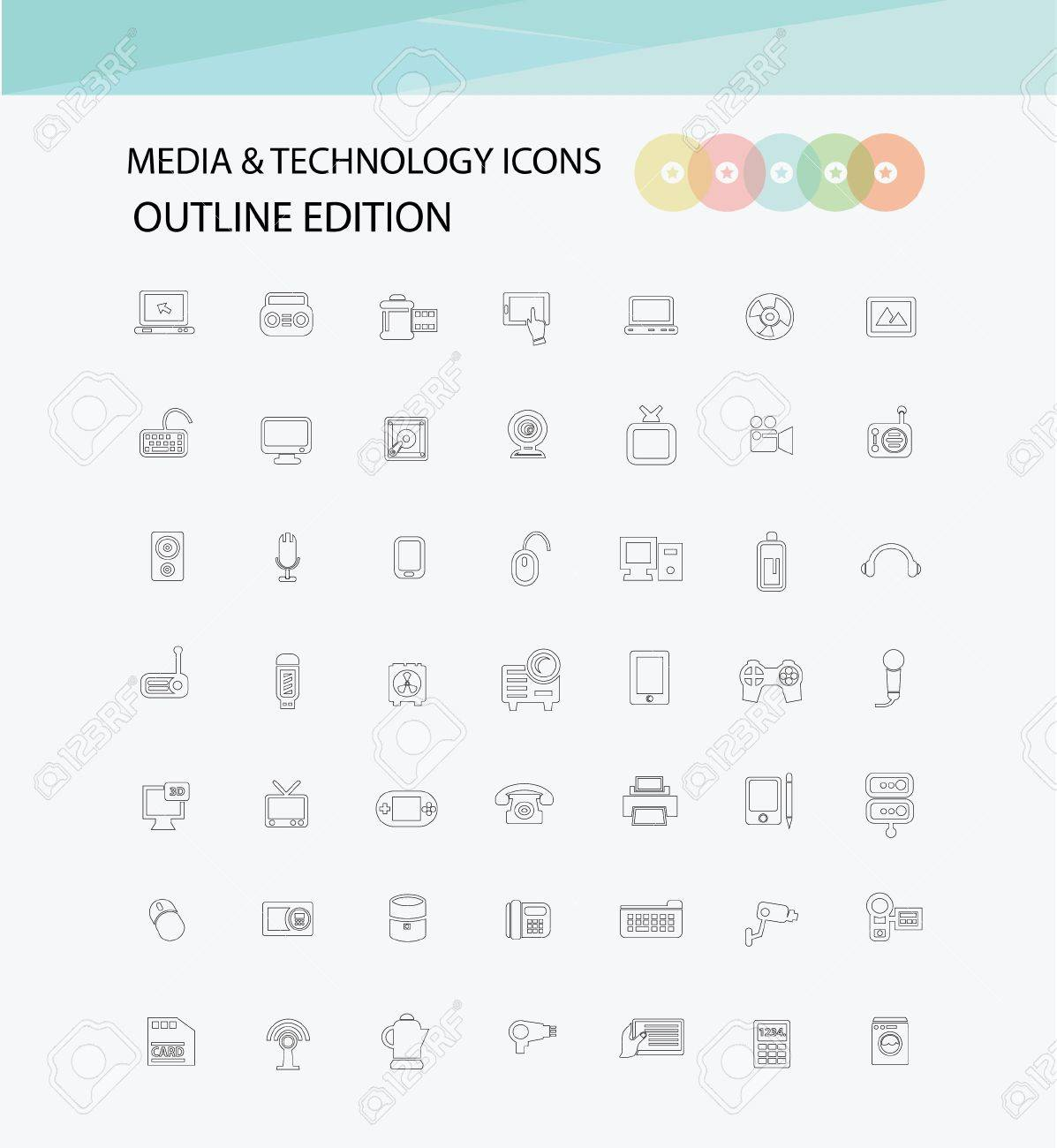 Outline edition,Media   Technology icons,vector Stock Vector - 21283185
