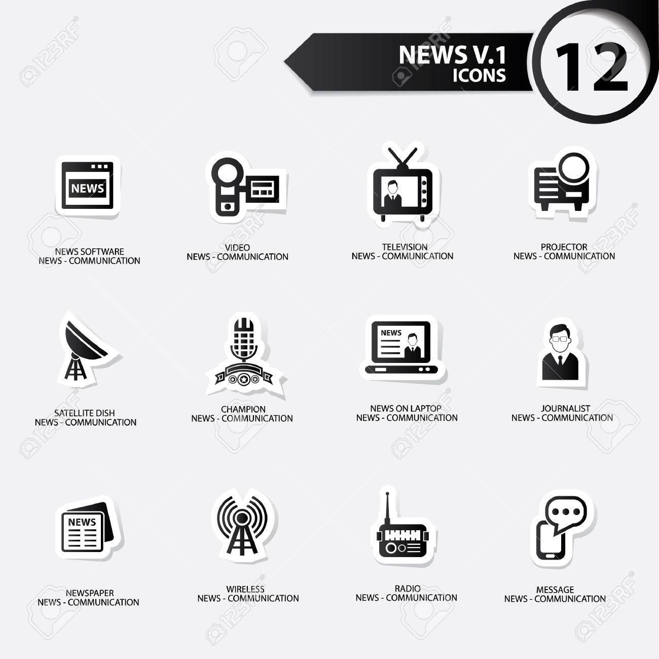 News icon set 1,black version vector Stock Vector - 21283193