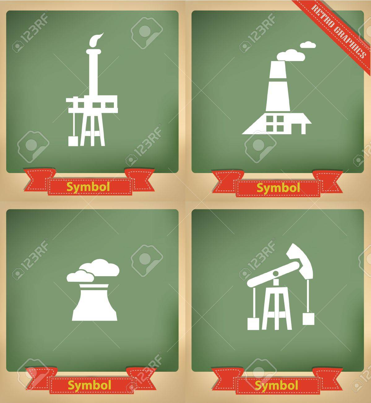 Industry icons on blackboard,vector Stock Vector - 21283230