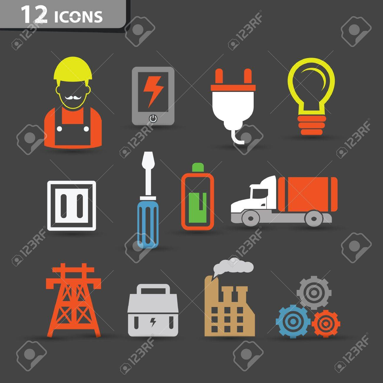 Electricity icons,vector Stock Vector - 21283397