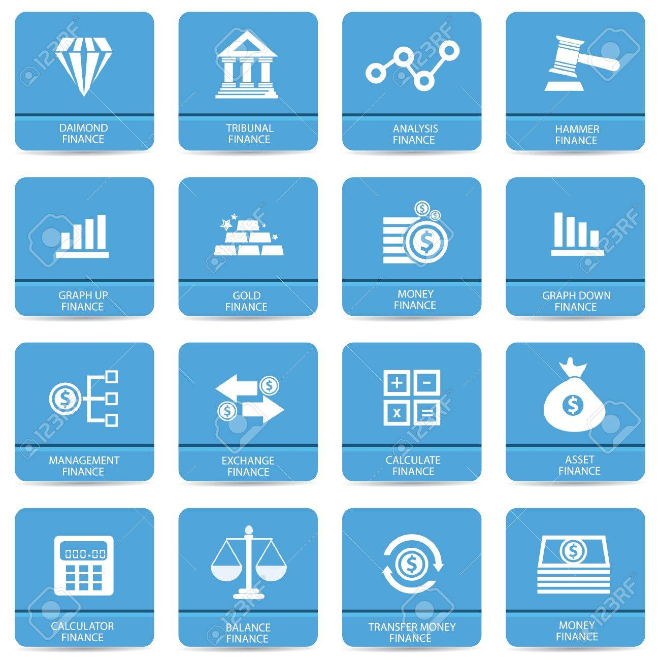 Finance icons,Blue buttons,vector Stock Vector - 21395832