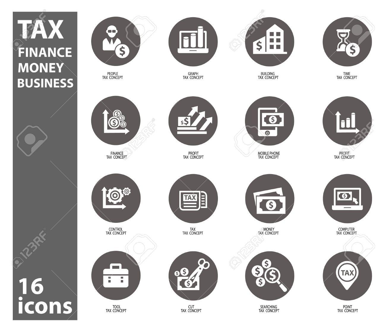 Steuern Und Finanzen Symbole Auf Weißem Hintergrund, Vektor ...