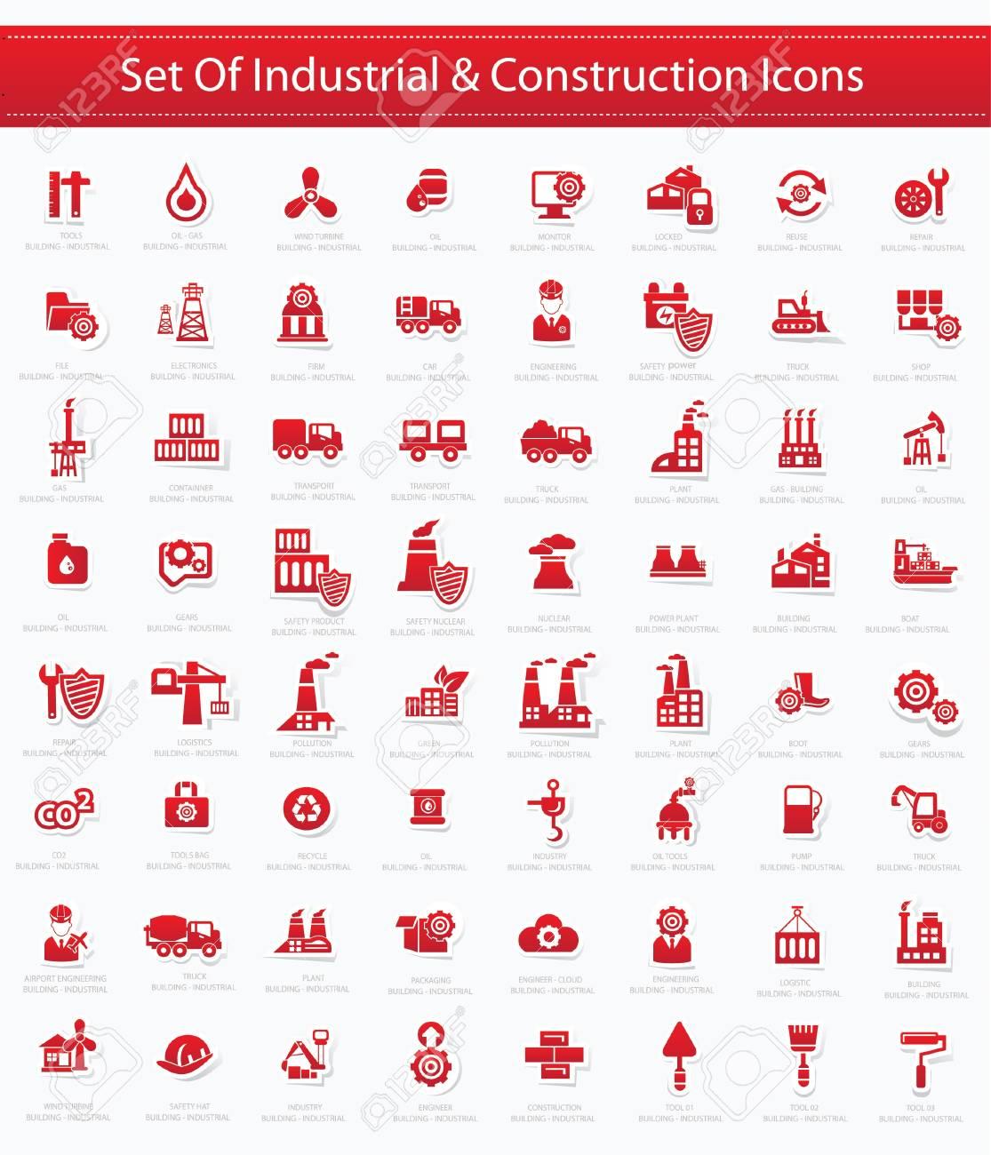 Industrial icon set,Red version,vector Stock Vector - 22098265