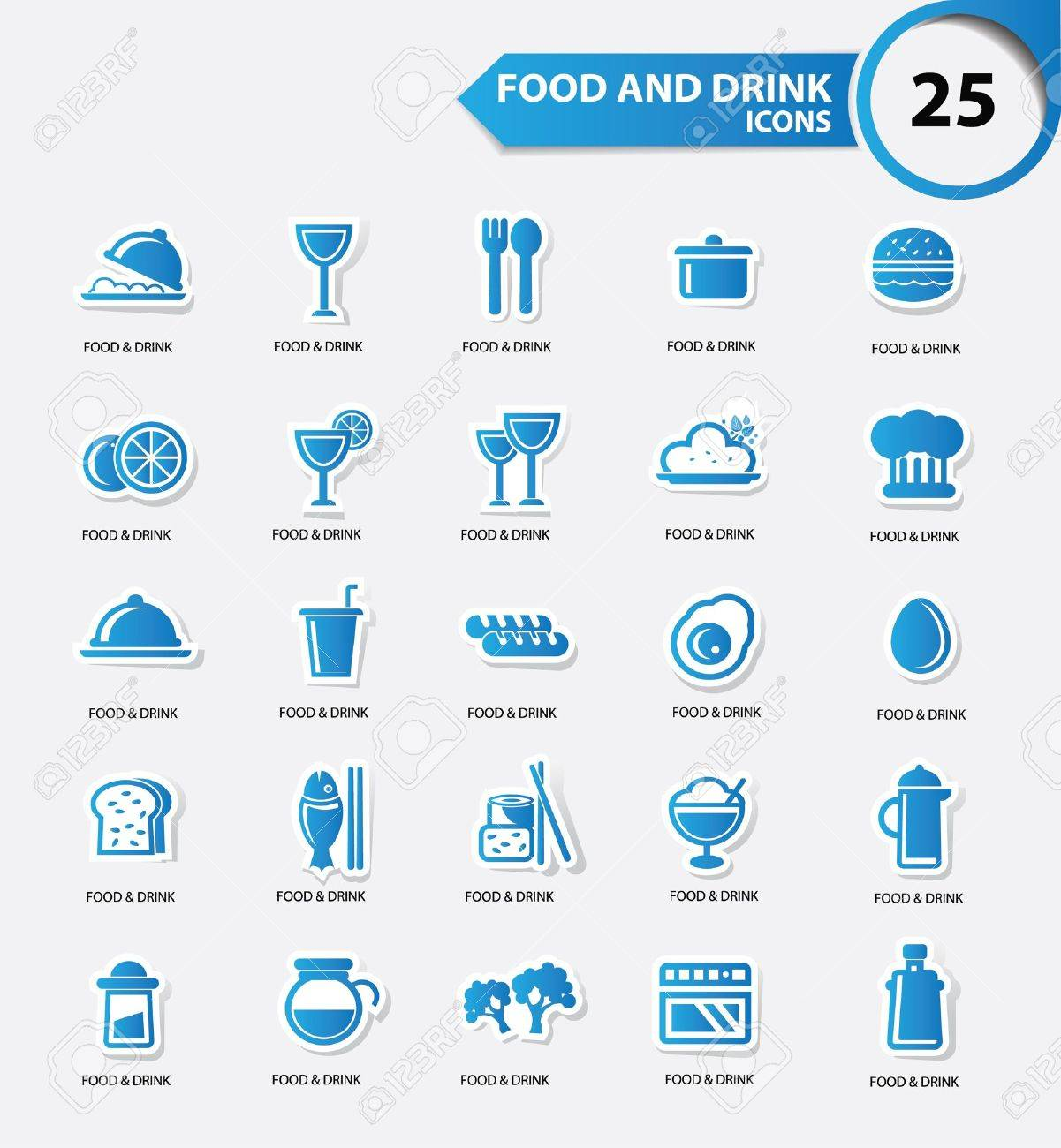 Food and Restaurant icons set,Blue version,vector Stock Vector - 22154896