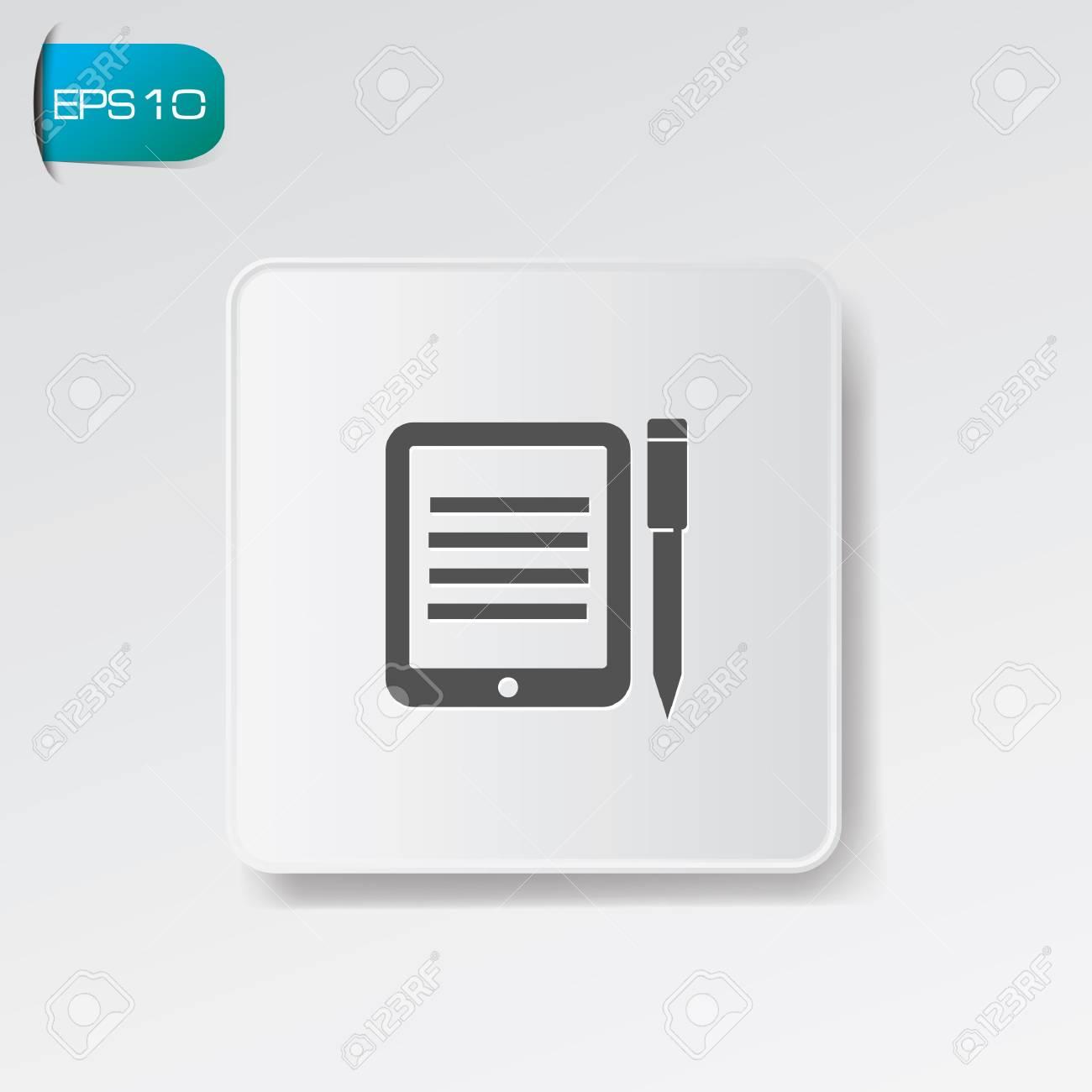 Tablet computer symbol on white button,vector Stock Vector - 22155141