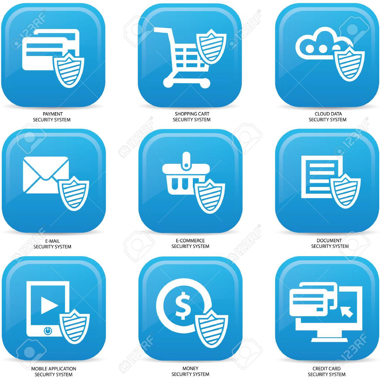 Security web media icons,Blue version Stock Vector - 22444535