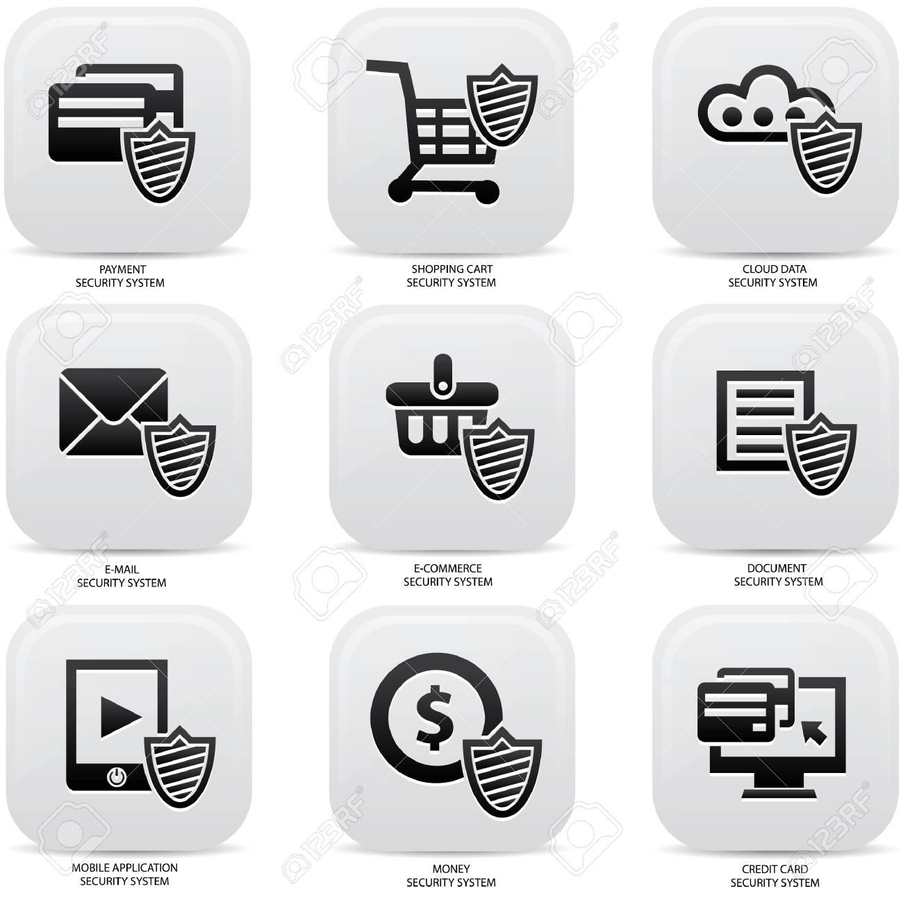 Security web media icons,Black version Stock Vector - 22444537