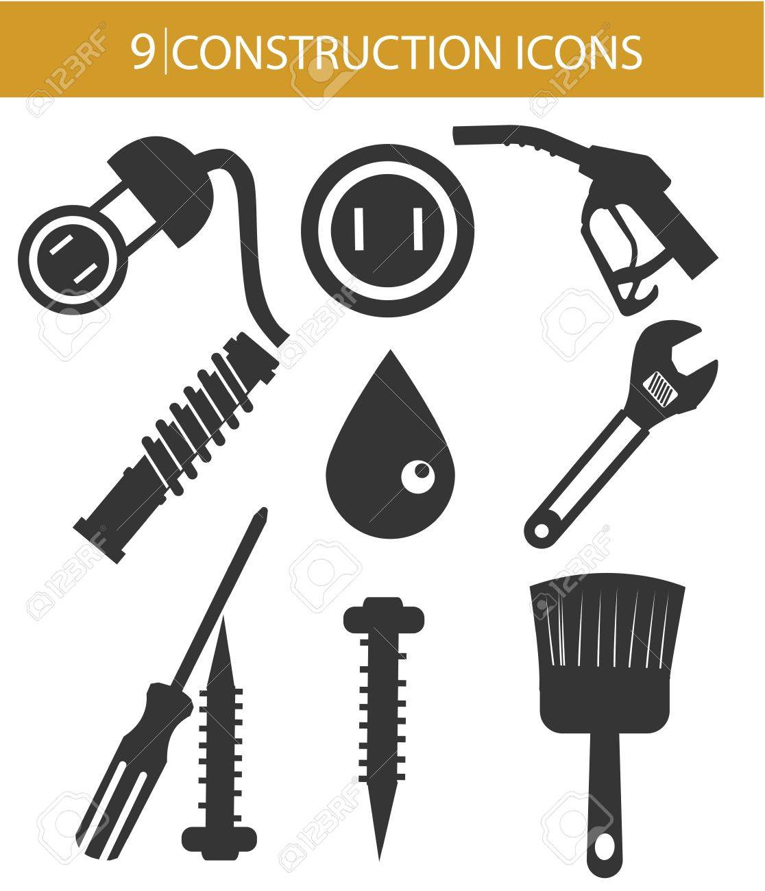 Construction objects,Black version,on white background Stock Vector - 25326688