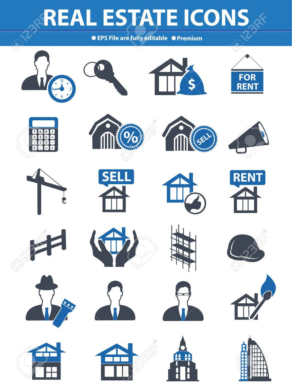 Real estate icons,Blue version,vector Stock Vector - 25936817