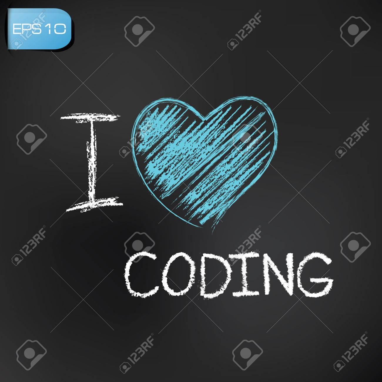 I love coding on blackboard background,vector Stock Vector - 27680547