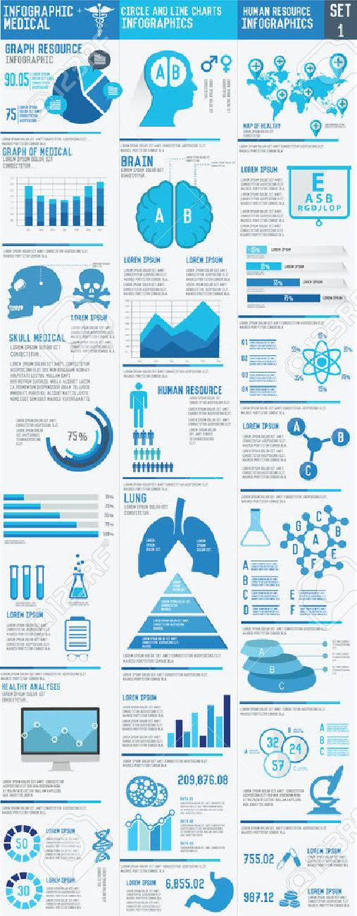 Medizinische Infografiken Presentation Set, Big Drei Spalte Auf ...