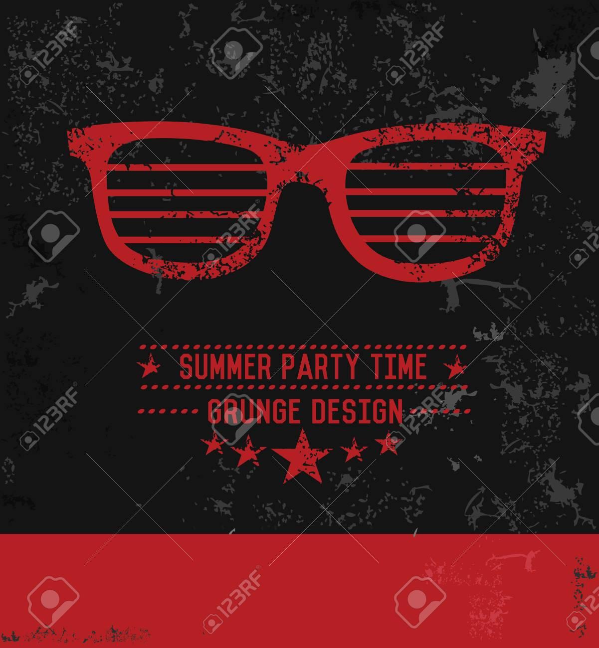 Glasses Symbol Grunge Designvector