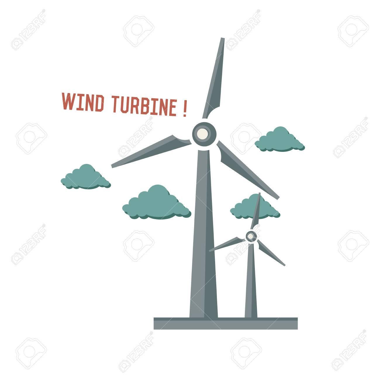 Wind Turbine Symbol On White Backgroundretro Colour Conceptclean