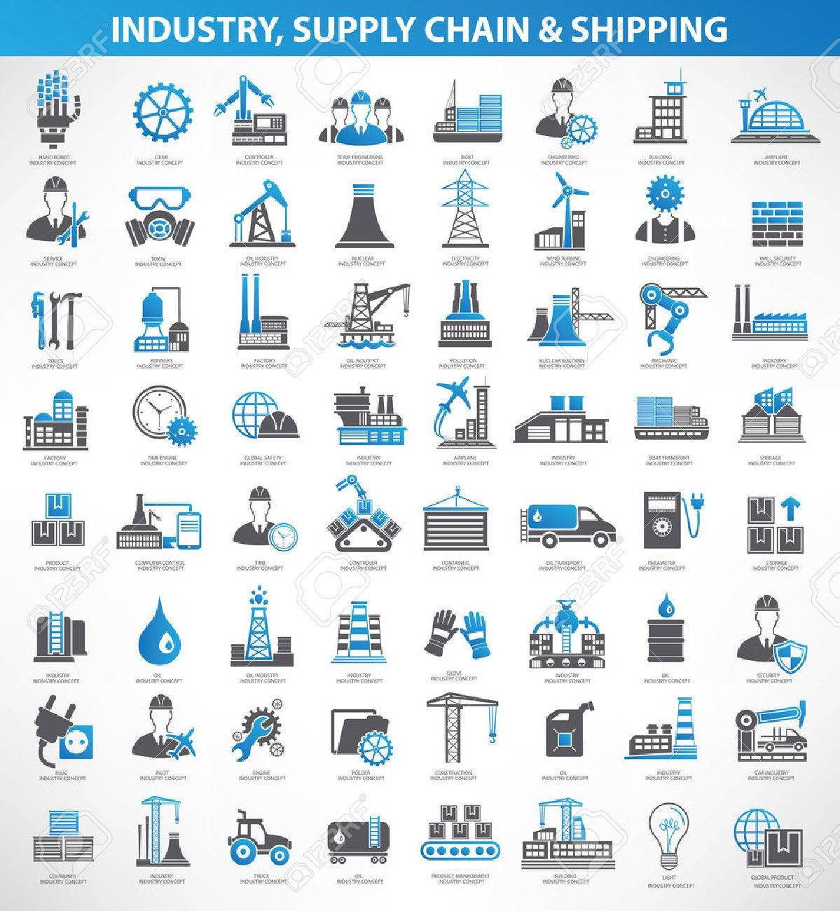 Industryconstruction and engineer icon setblue versionclean vector - 40327815