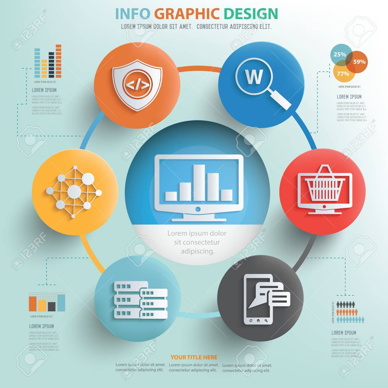 Seo And Web Development Concept Info Graphic Design Vector Royalty Free Cliparts Vectors And Stock Illustration Image 44835404