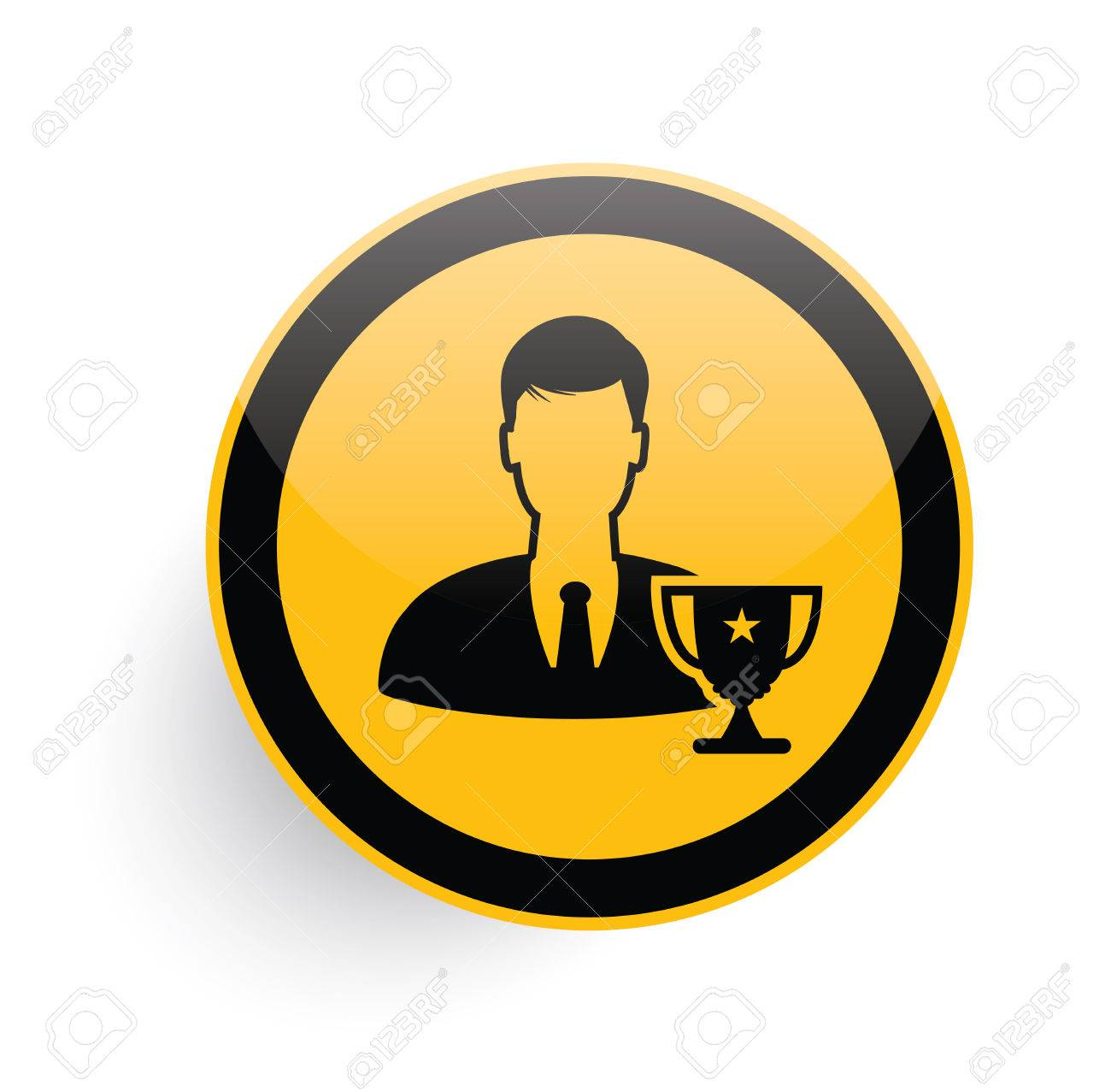 good employee icon on yellow button background clean vector good employee icon on yellow button background clean vector stock vector 46093807