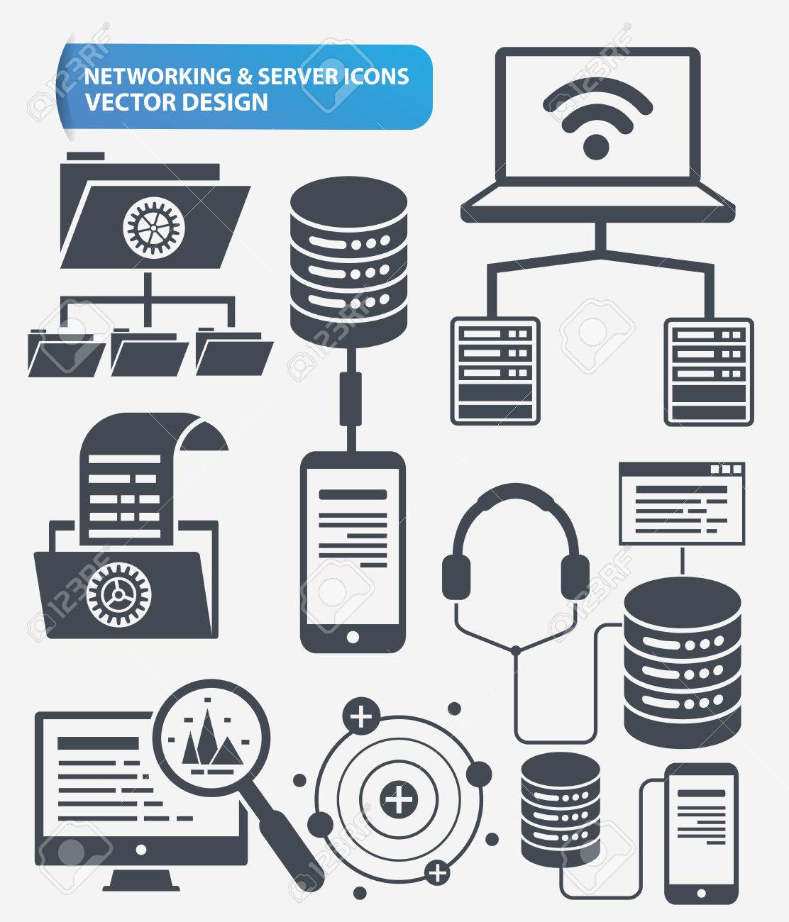 Networking and database server icon set design,clean vector