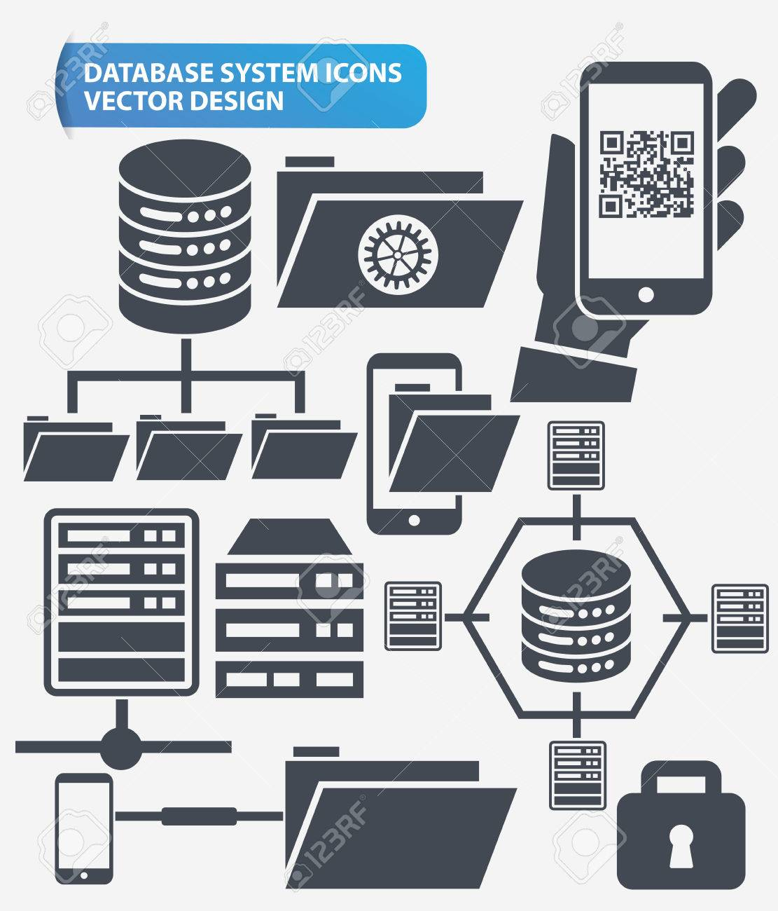 File share,Networking and database server icon set design,clean
