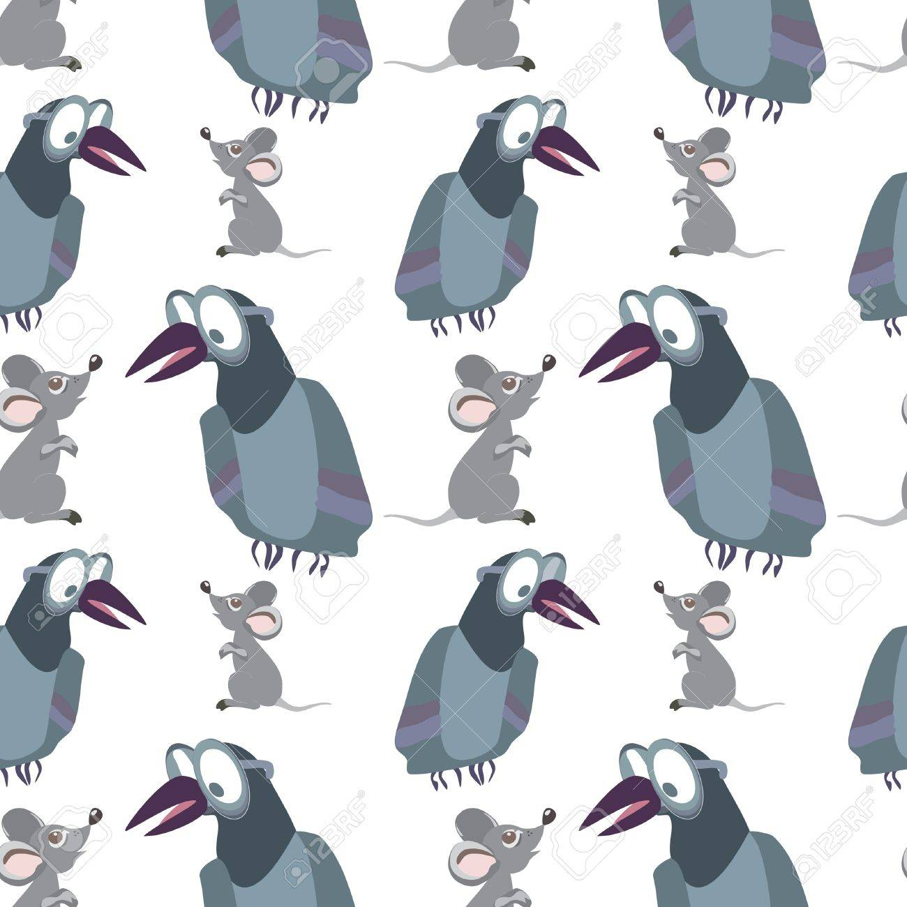 Funny crow and mouse on white - seamless pattern Stock Vector - 15773501