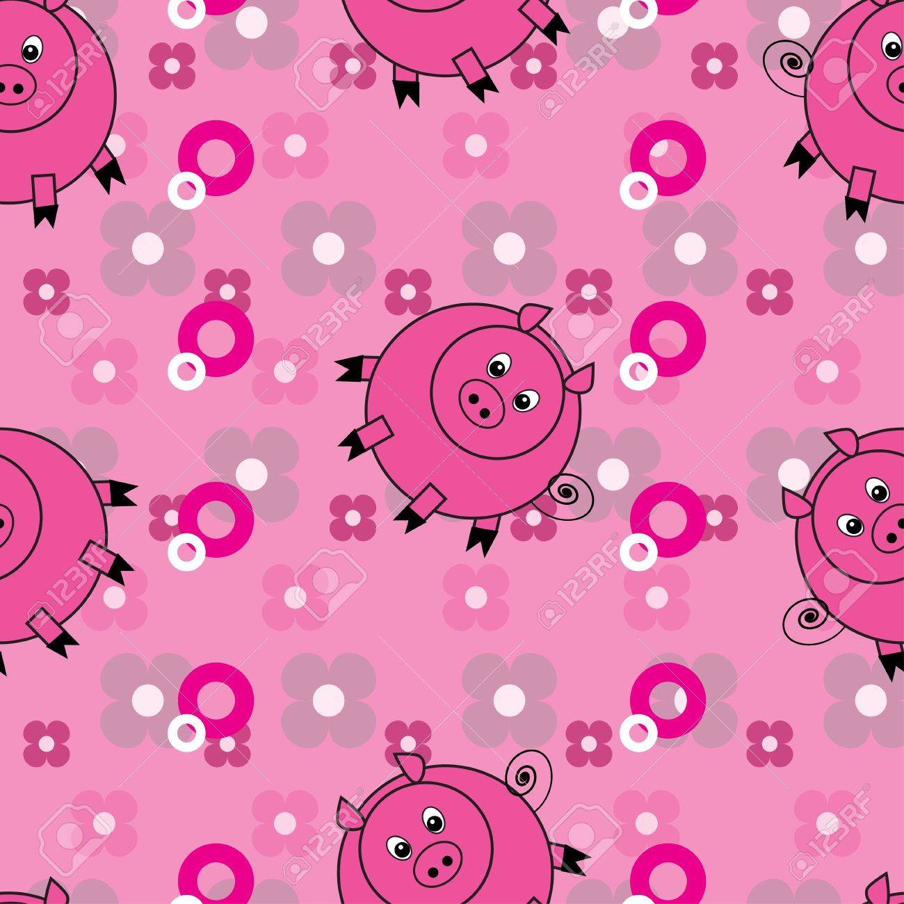 Seamless pattern with cute pigs Stock Vector - 9485163