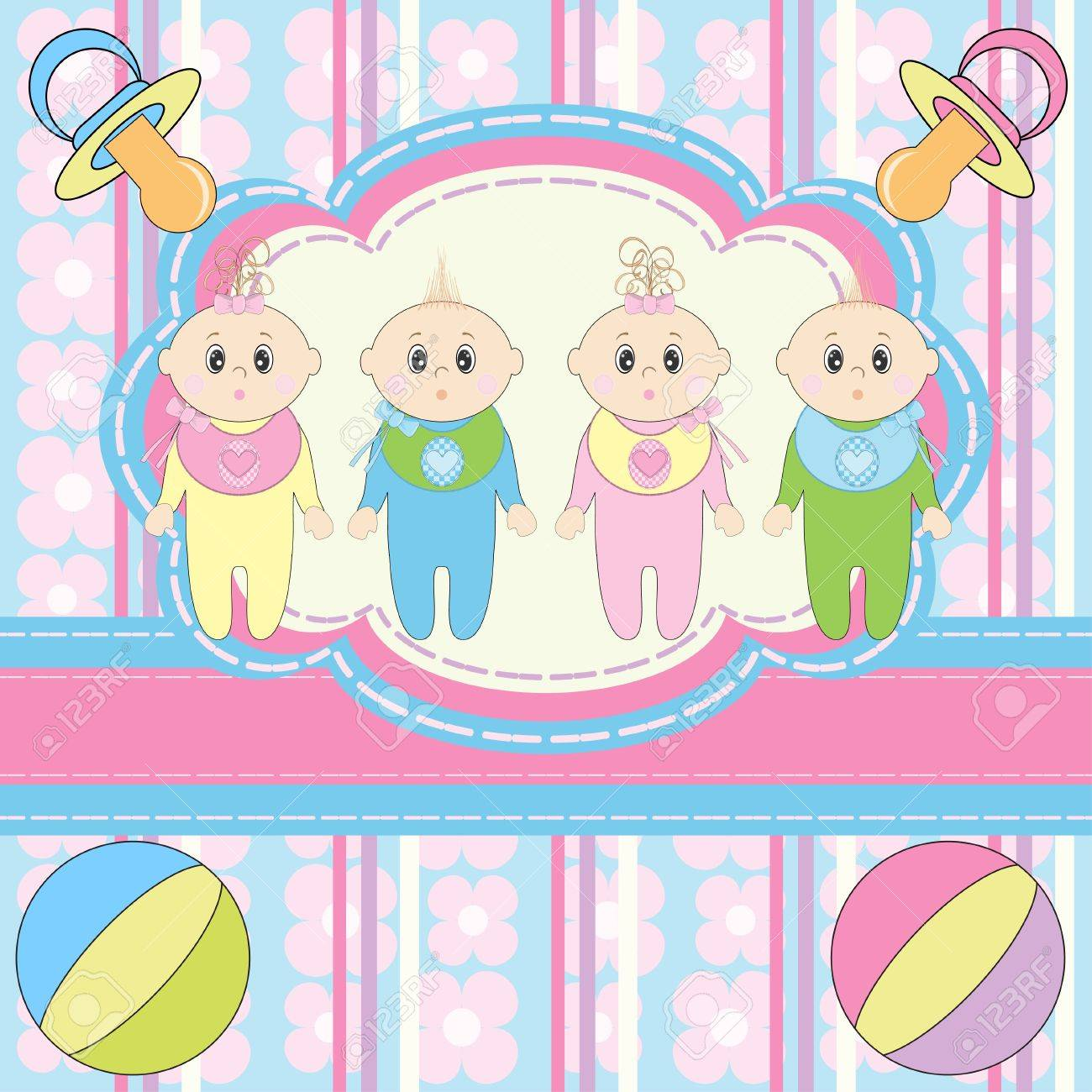 Greeting Card For Four Newborn Babies Royalty Free Cliparts Vectors