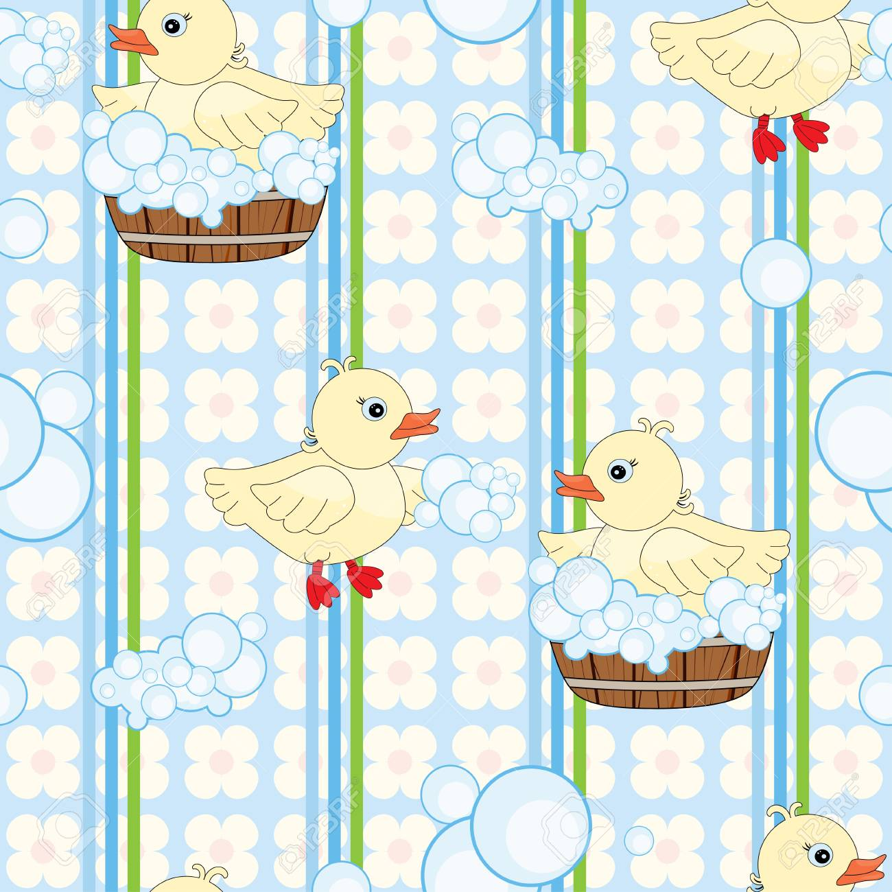 Seamless pattern with cute ducks in tub Stock Vector - 15497671