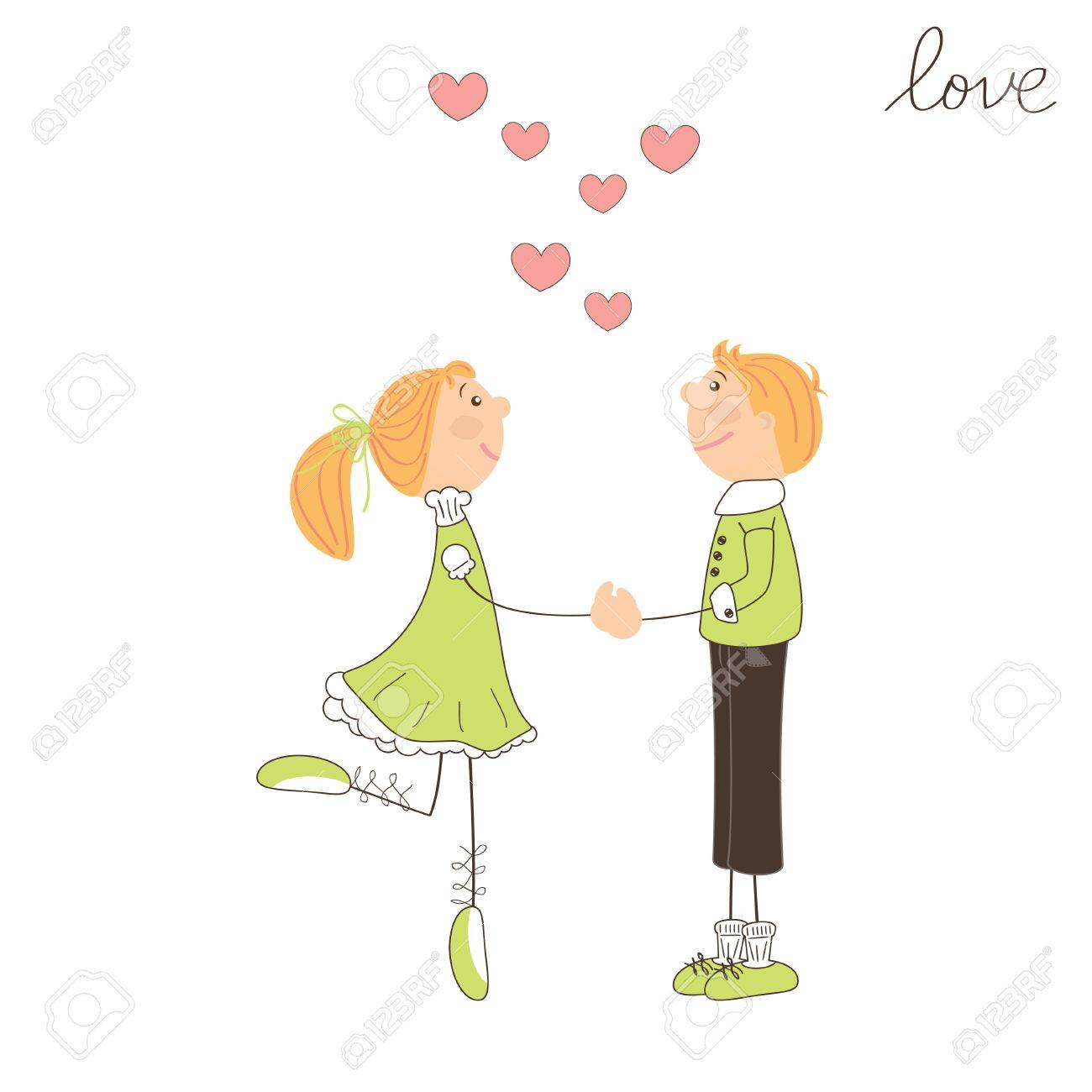 Boy and girl fall in love. Valentine day illustration Stock Vector - 17024173