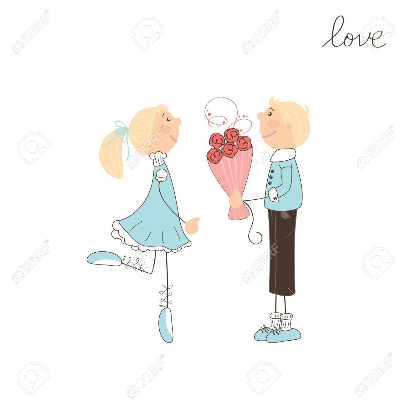 Cute boy present flowers to girl. Valentine day illustration Stock Vector - 17117569