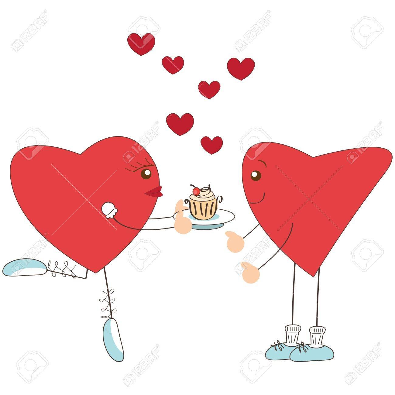 Valentine day greeting. Cute heart girl present cake to heart boy Stock Vector - 17345240