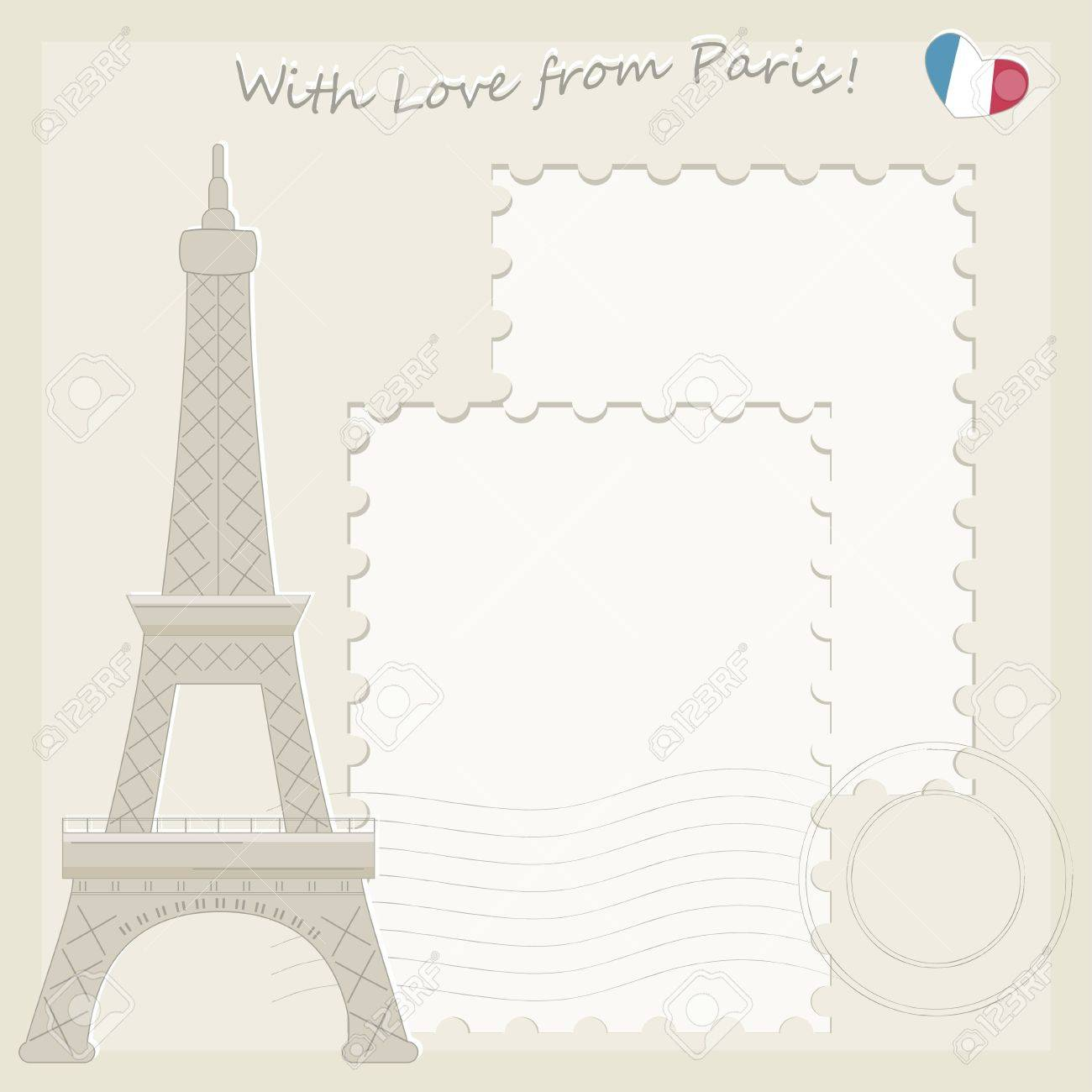 Eiffel Tower greeting card Stock Vector - 18155936