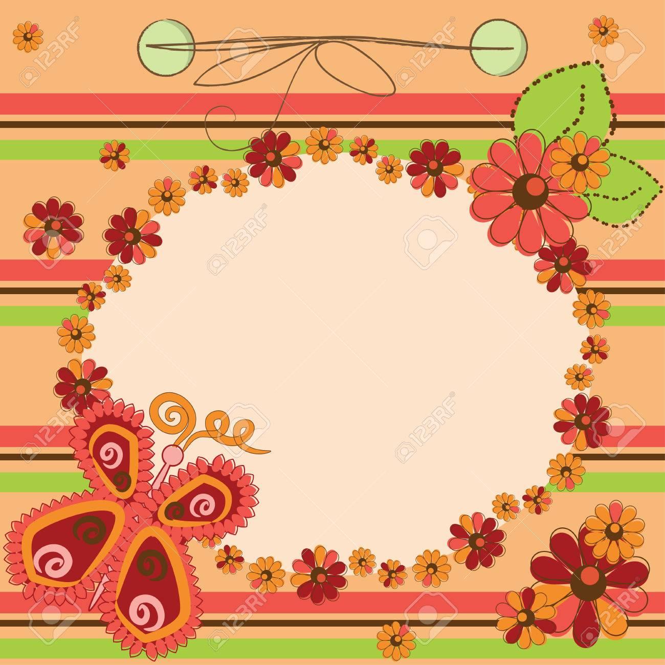 Tarjeta De Invitación Con Flores Y Mariposas