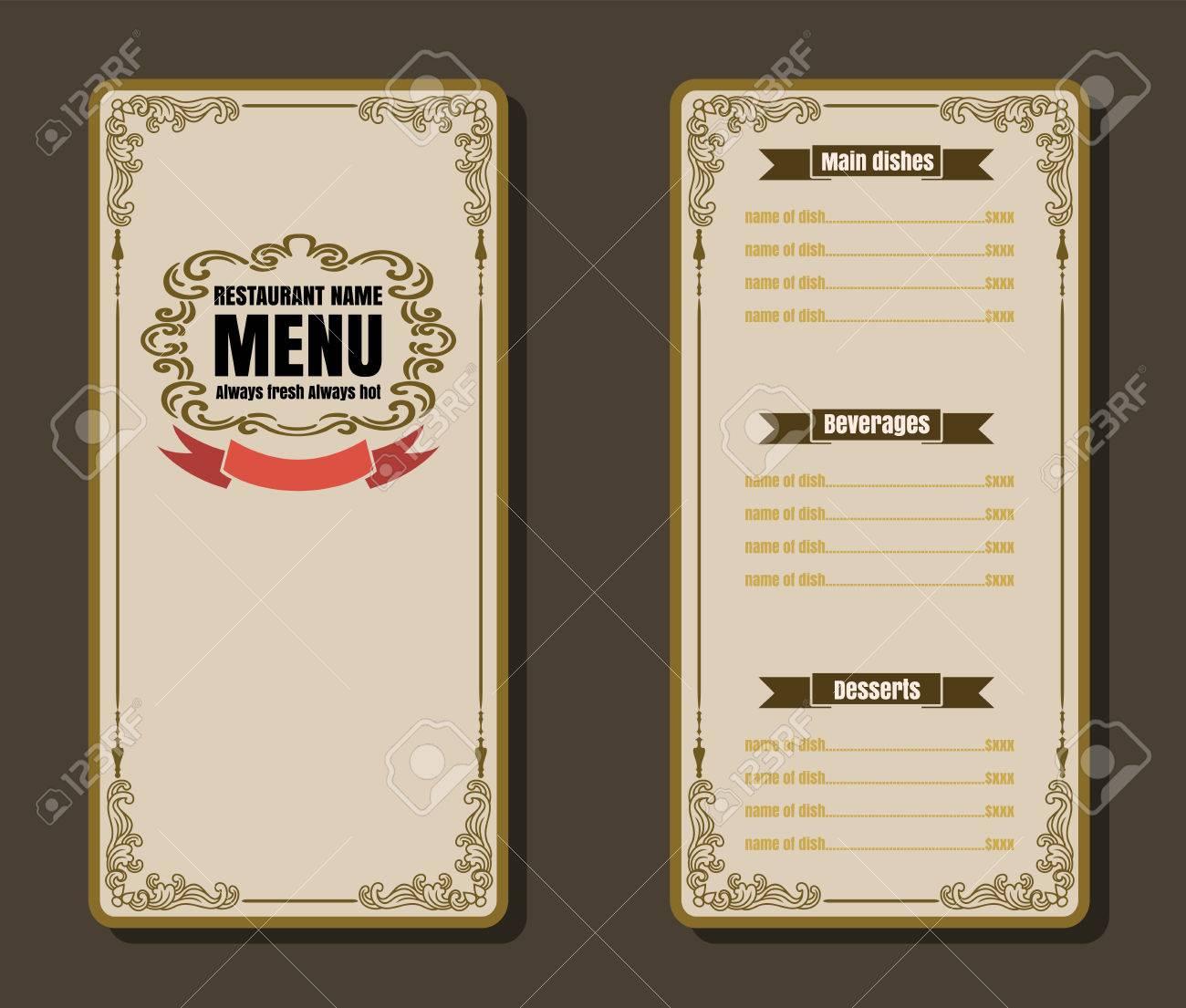 restaurant food menu vintage design with background vector format