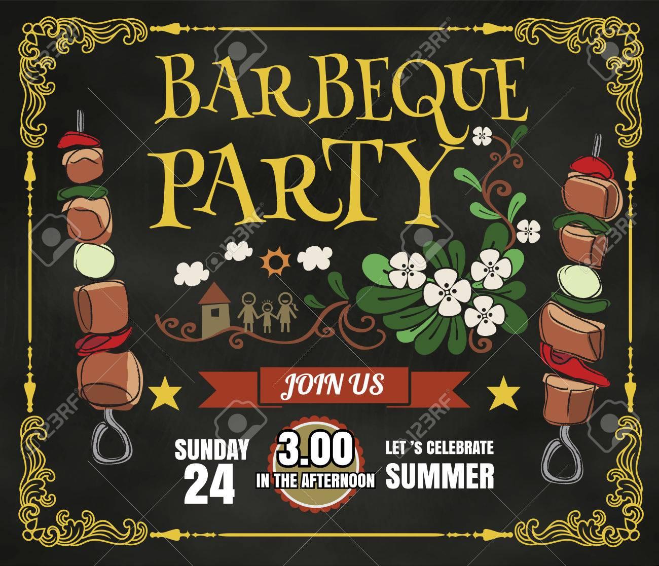 Barbecue-Party Einladung. BBQ Vorlage Menü-Design. Essen Flyer ...