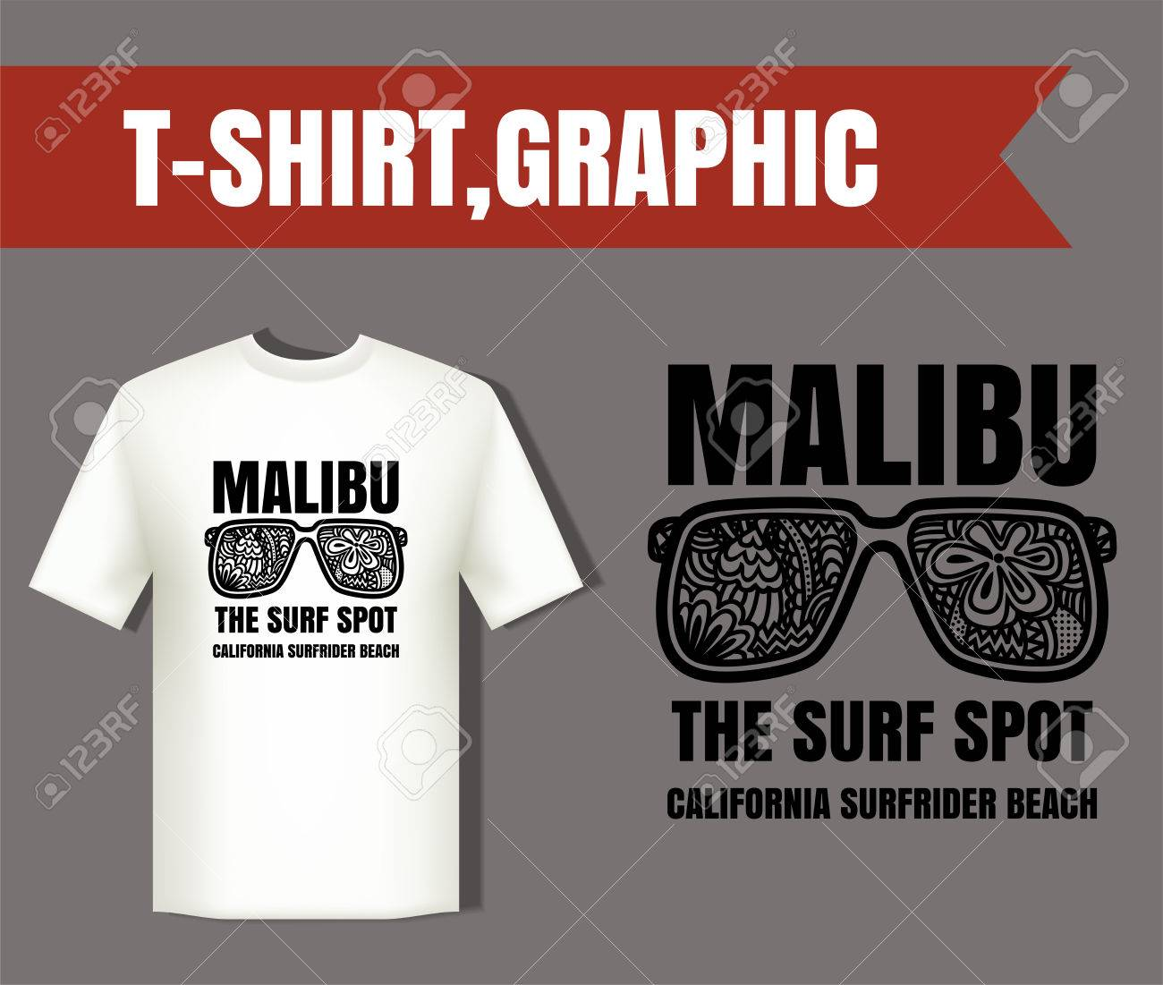 0d6b50adc8b7 Malibu surf typography and glasses eye zentangle style  t-shirt graphics  vectors  Stock