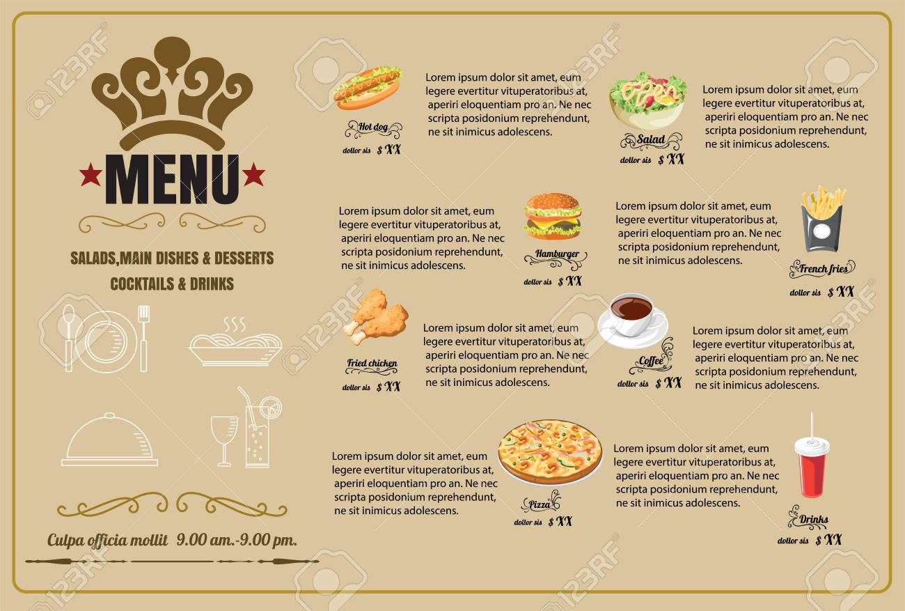 restaurant food menu design vector format royalty free cliparts