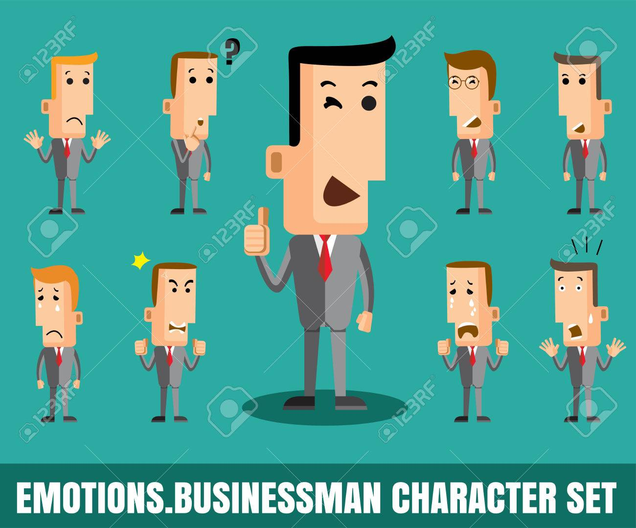 Illustration of businessman faces showing different emotions flat design  vector format eps 10 Stock Vector -