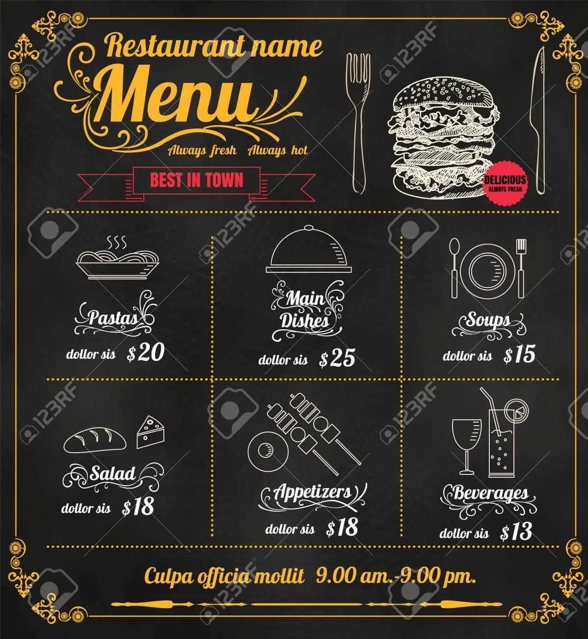 restaurant food menu design with chalkboard background format