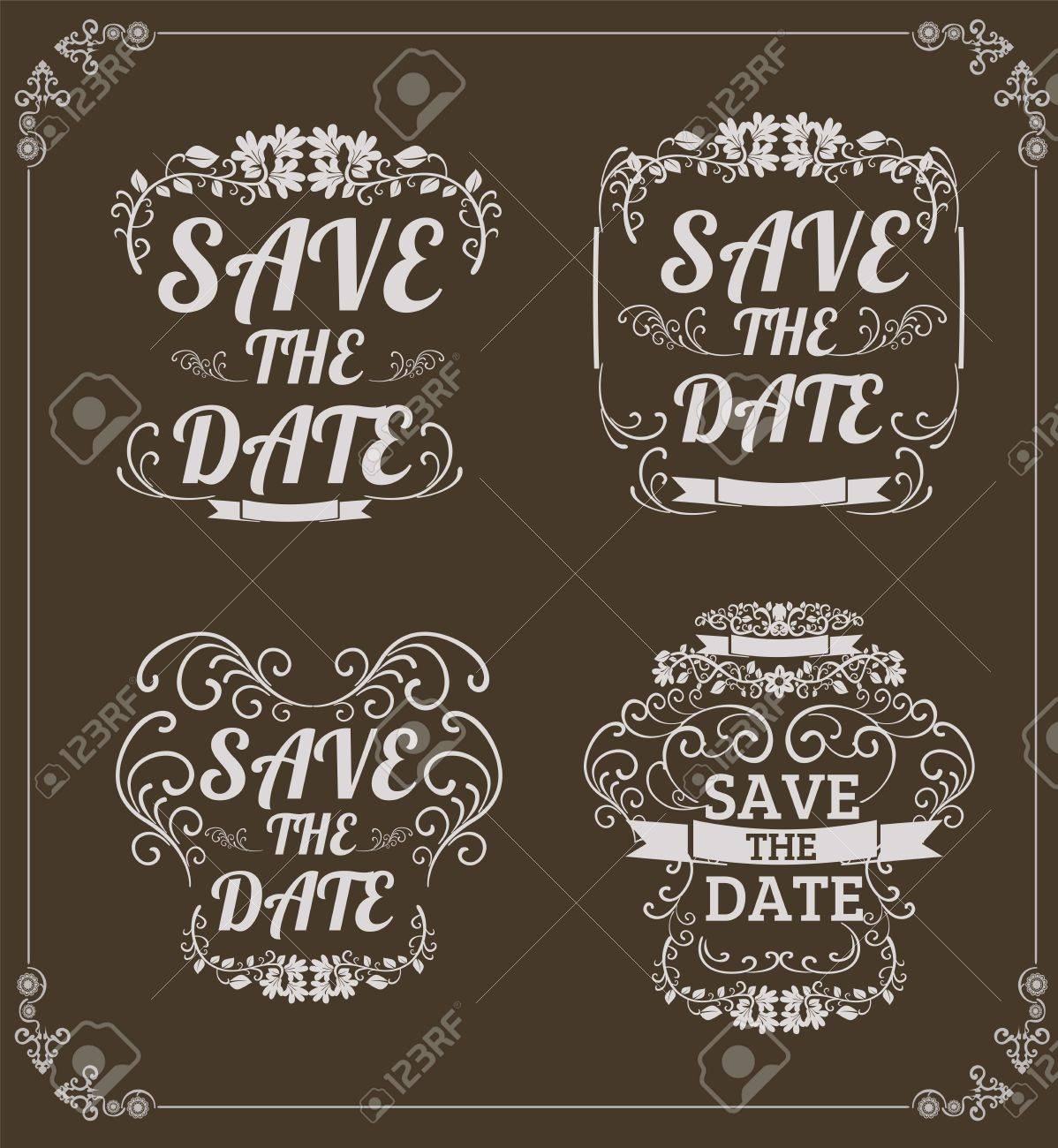 Set of vector save the date wedding invitation card on brown set of vector save the date wedding invitation card on brown background with chalk vector format stopboris Choice Image