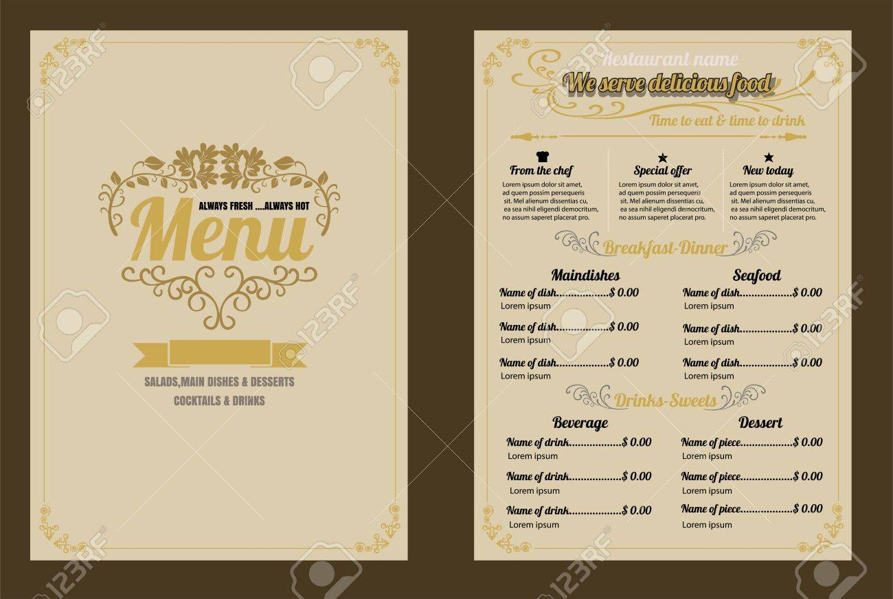 restaurant food menu vintage design with chalkboard background