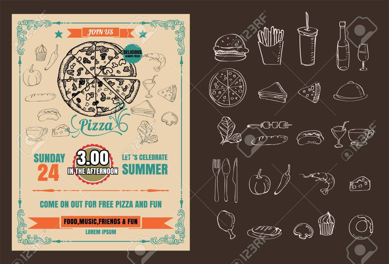 Pizza Party Invitations Template from previews.123rf.com