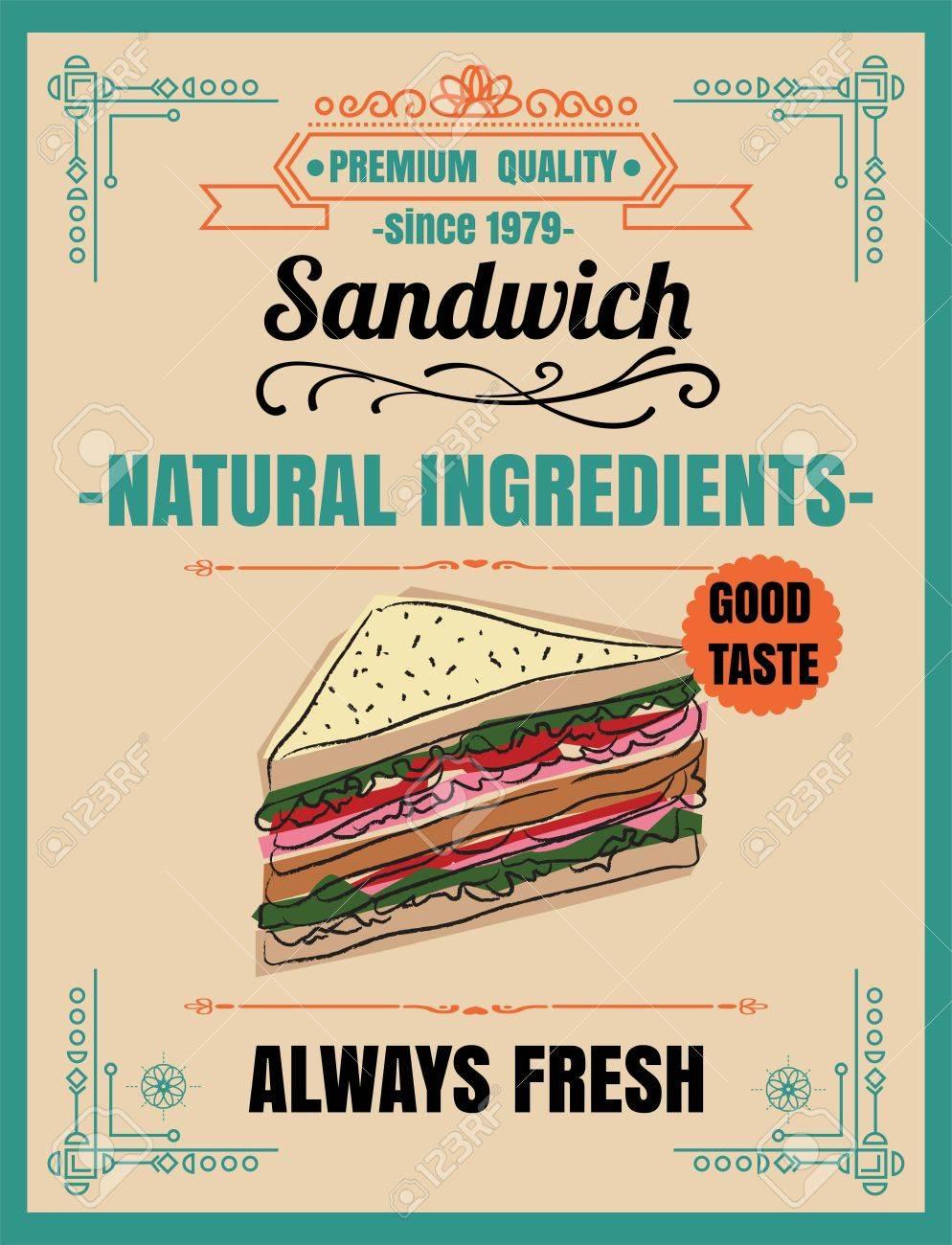 vintage poster sandwichmenu chalkboard food board chalk
