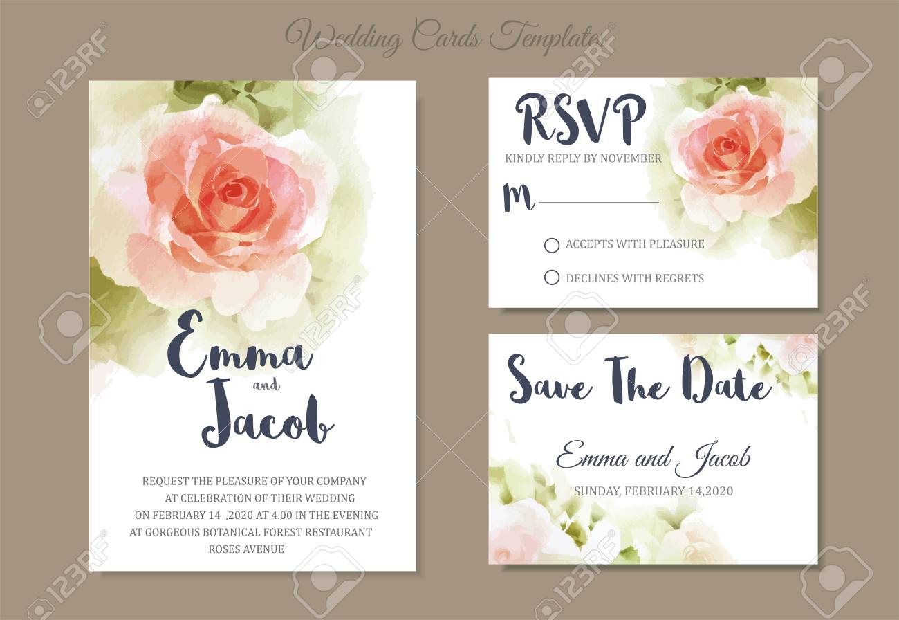 Vector - Vintage style Wedding Invitation pink rose watercolor hand drawn. save the date card design.vector template set.invite card design.Greeting wedding ...