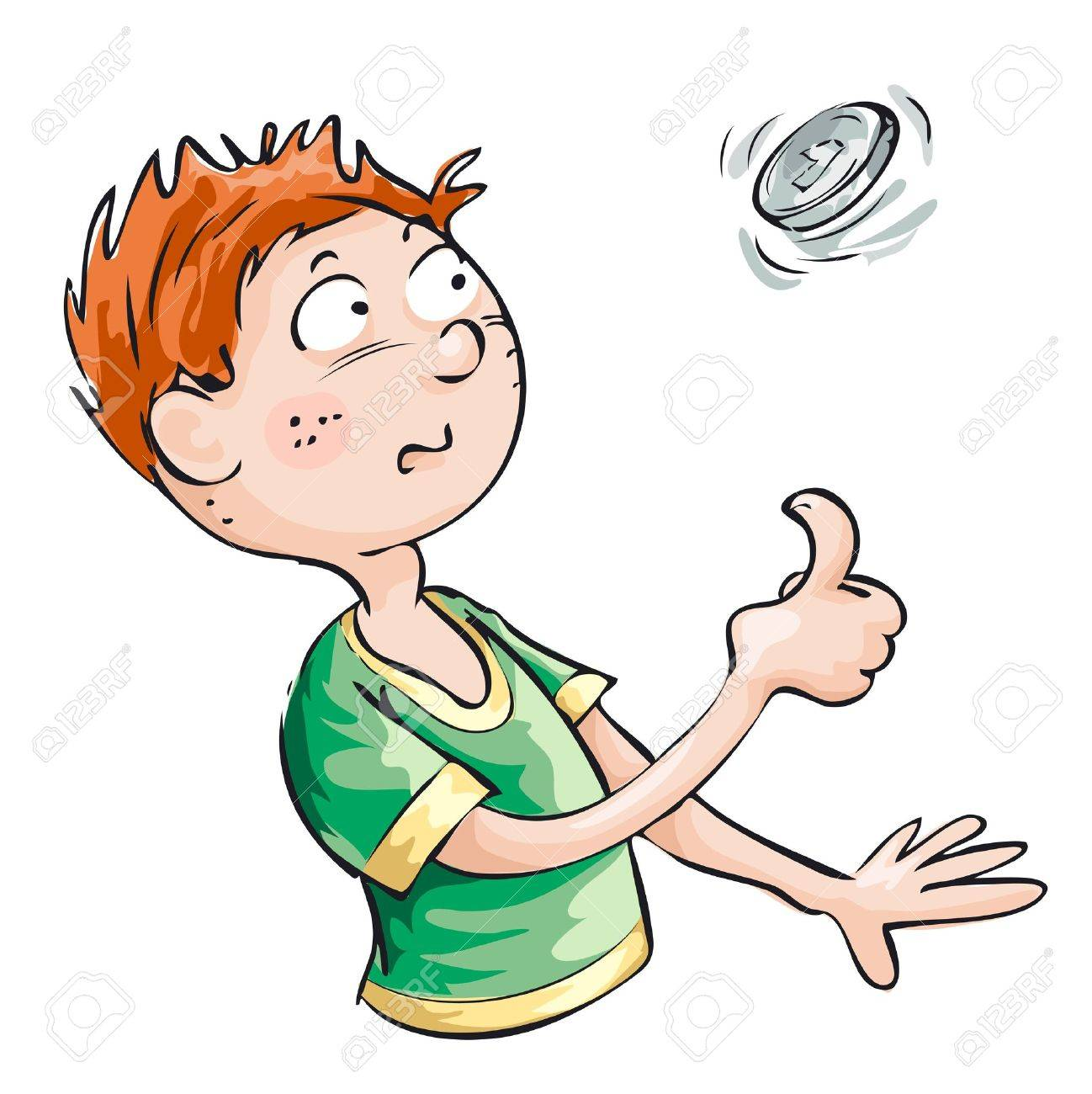 A young man wants to take a decision and throws a coin. Stock Vector - 11342205