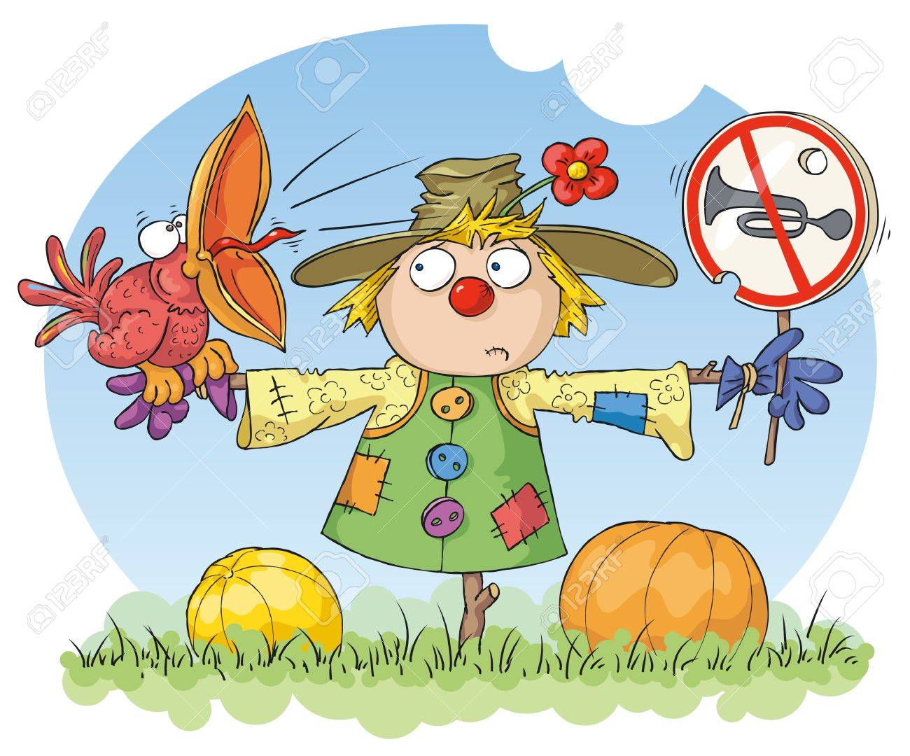 Scarecrow with a red bird and a noise prohibition sign. Stock Vector - 11342175