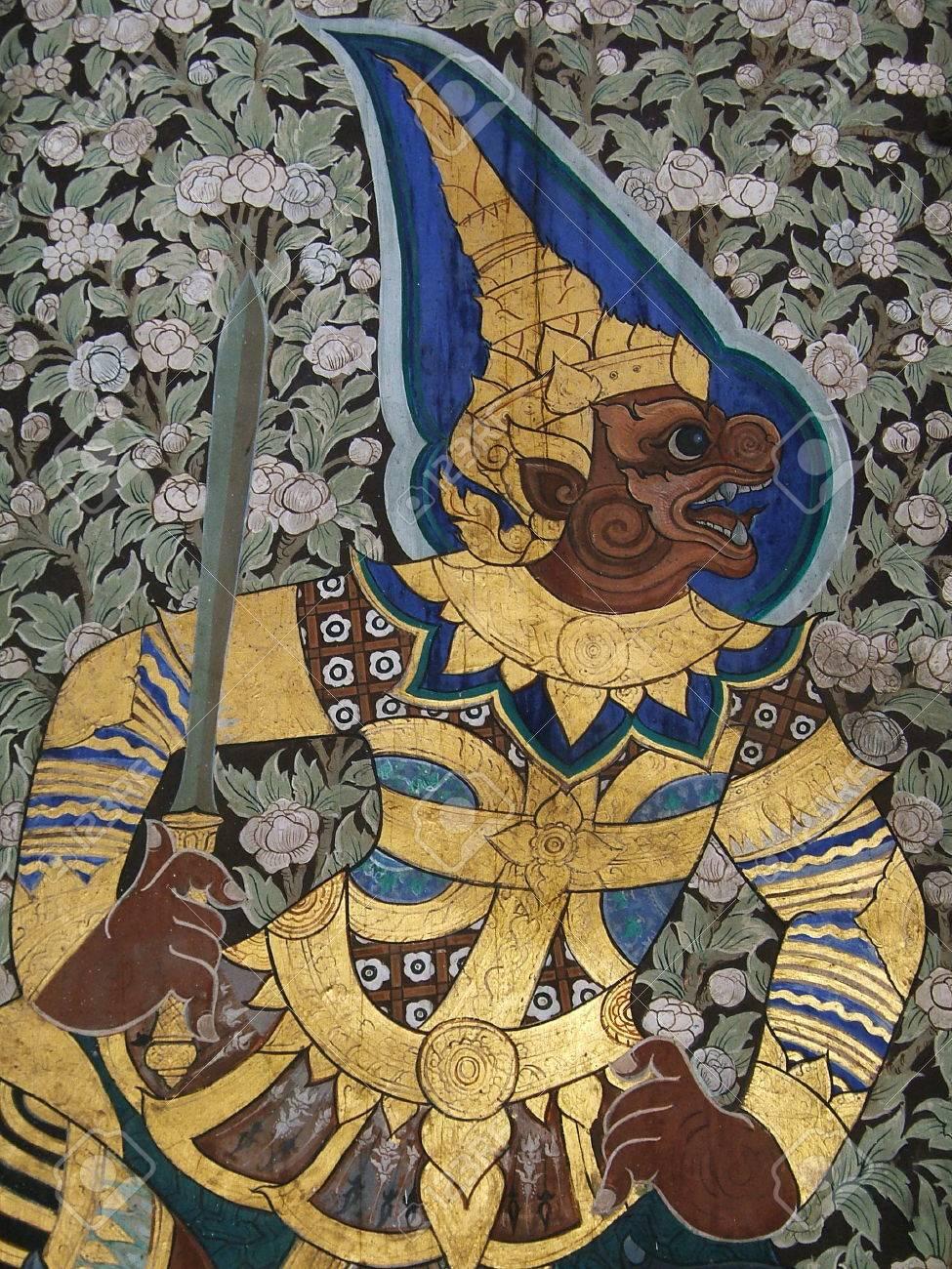 Thai Mural Painting at Wat suthat, ramayana story