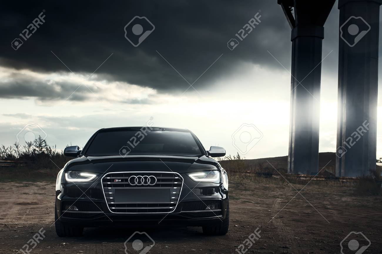 Saratov Russia October Black AUDI S Car At Parked - Sunset audi